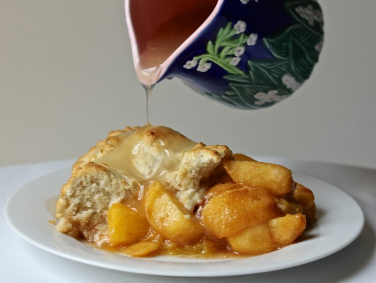 Warm Peach Cobbler with Vanilla Sauce