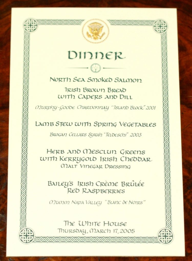 Green and white invitation to the White House dinner