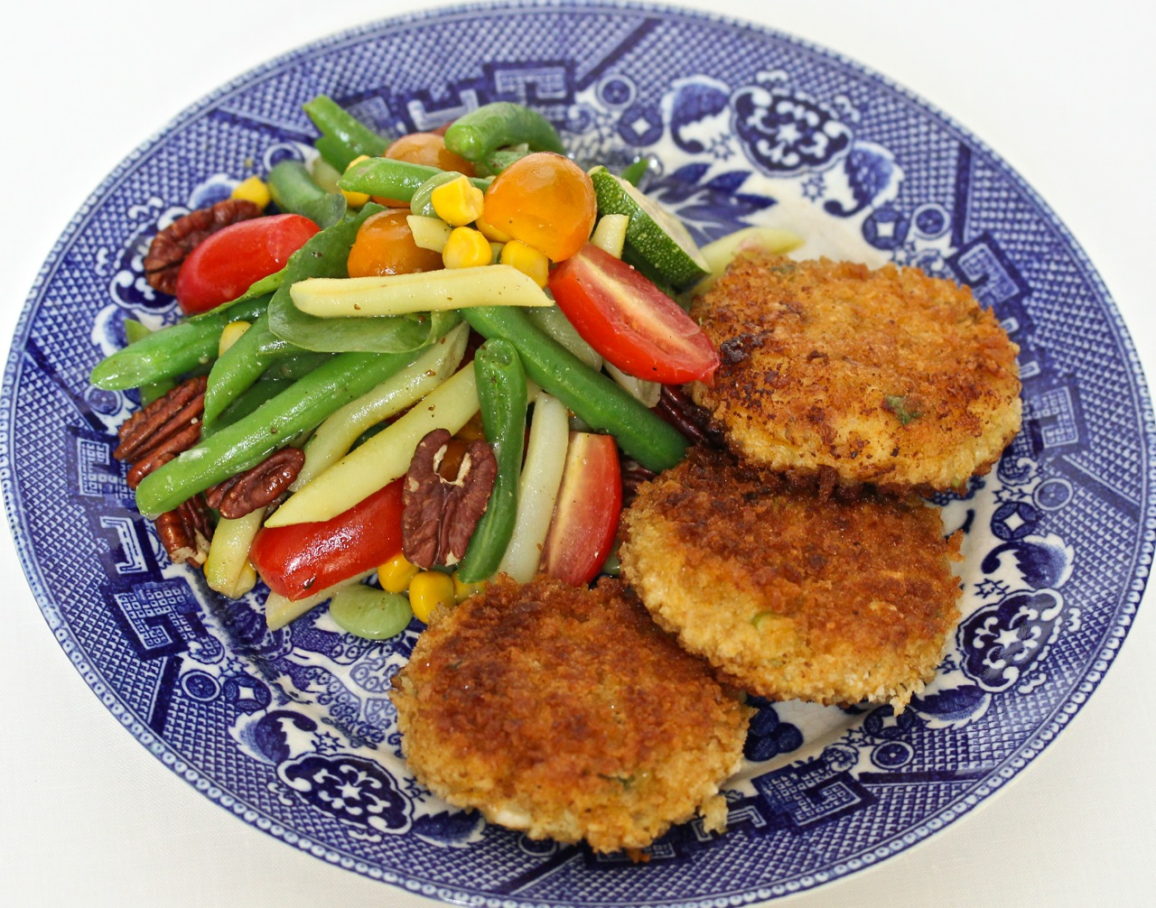 Maryland Blue Crab Cakes with Summer Succotash Salad