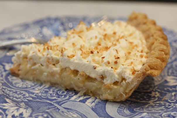 Laura Bush's Texas Buttermilk Coconut Pie with Whipped Cream