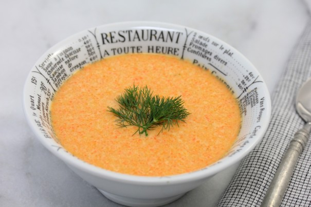 Soup in bowl with garnish