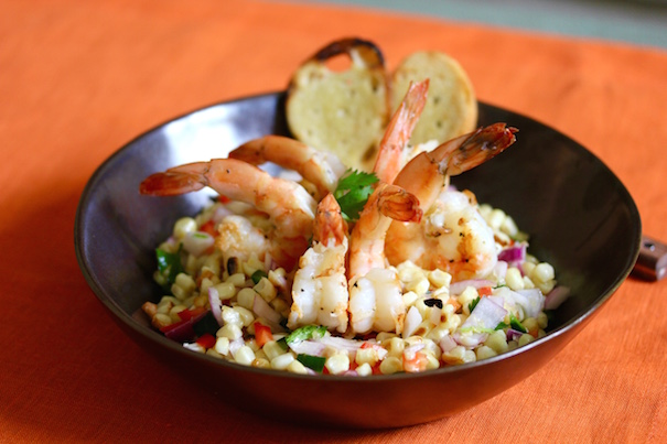 Grilled Shrimp Corn salad with Garlic Bread