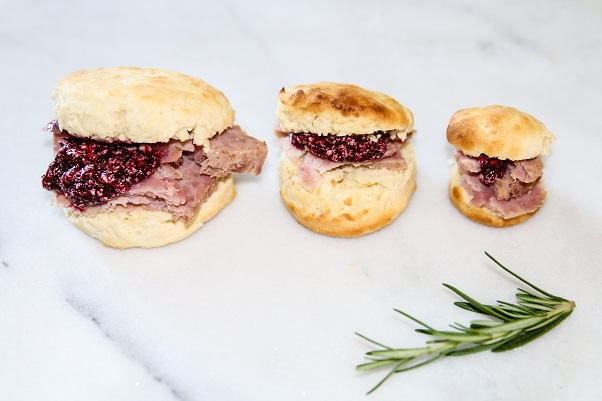 Ham Biscuits with Blackberry Honey Butter on Americas-Table.com
