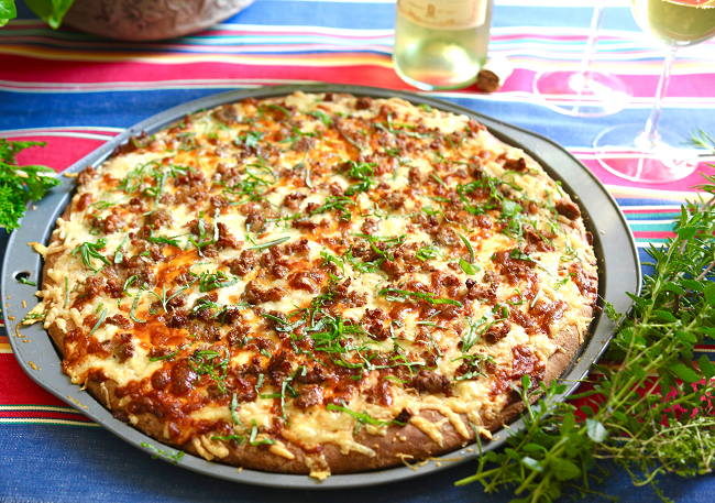 Herbed Spelt Pizza with Italian Sausage