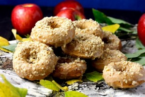 APPLE CIDER DOUGHNUTS WITH CHOPPED WALNUTS