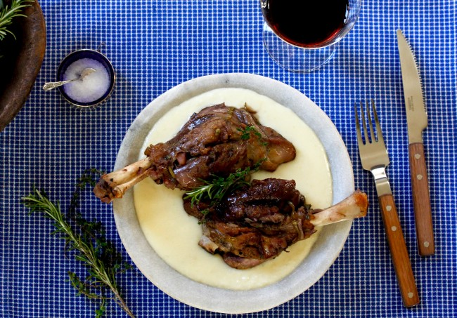 Lamb Shanks with Extra Cheesy Mashed Potatoes