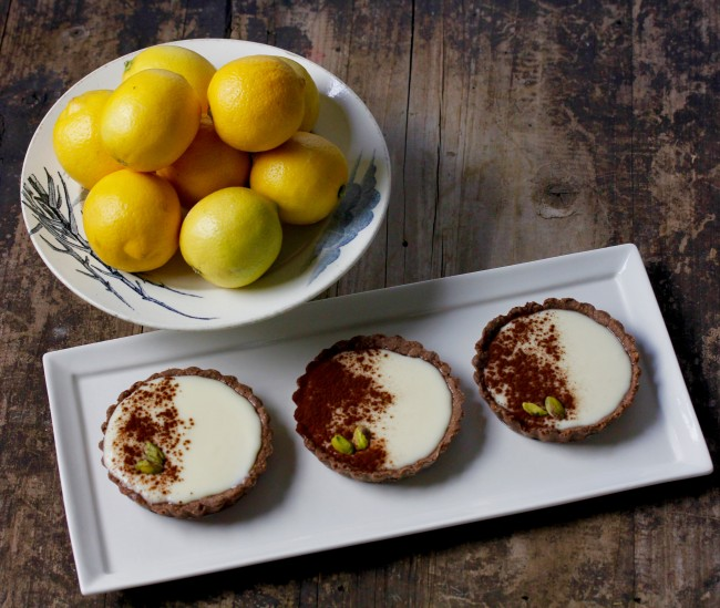 Lemon Mascarpone Tarts with Chocolate Pistachio Crust