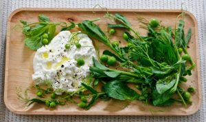 FRESH PEA SHOOTS AND BURRATA SALAD on Americas-Table.com