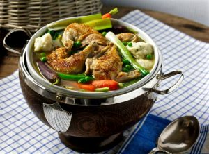 SPRING VEGETABLE GAME HEN AND DUMPLINGS on Americas-Table.com