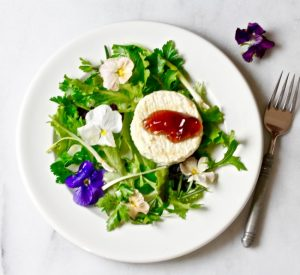 SPRING GREENS AND GRILLED GOAT CHEESE SALAD WITH ROSE PETAL JELLY on Americas-Table.com