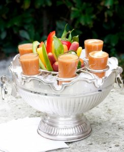 GAZPACHO SHOTS WITH MUSTARD CREAM on Americas-Table.com