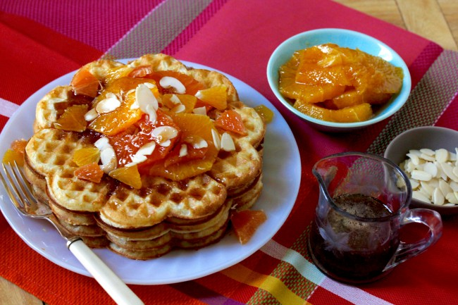 Raised Waffles in Spiced Orange Syrup