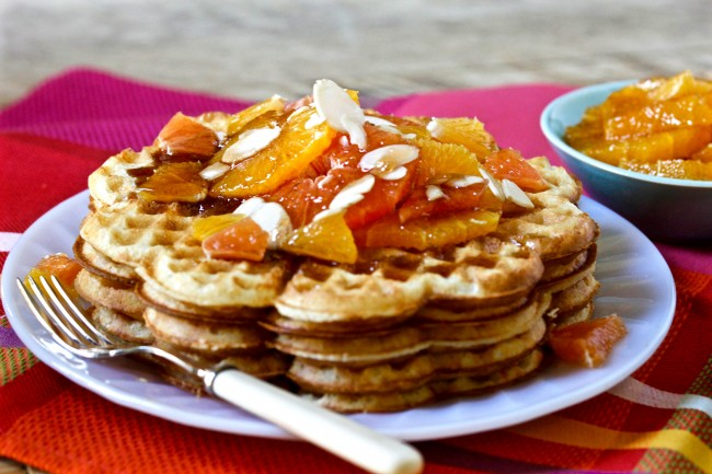 RAISED WAFFLES IN SPICED ORANGE SYRUP on Americas-Table.com
