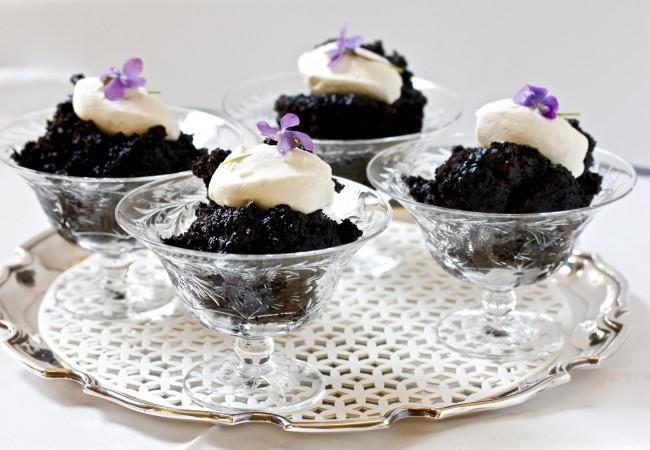 English Chocolate Pudding with Rum Cream