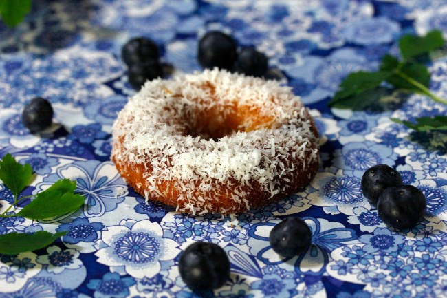 Blueberry Coconut Baked Doughnuts