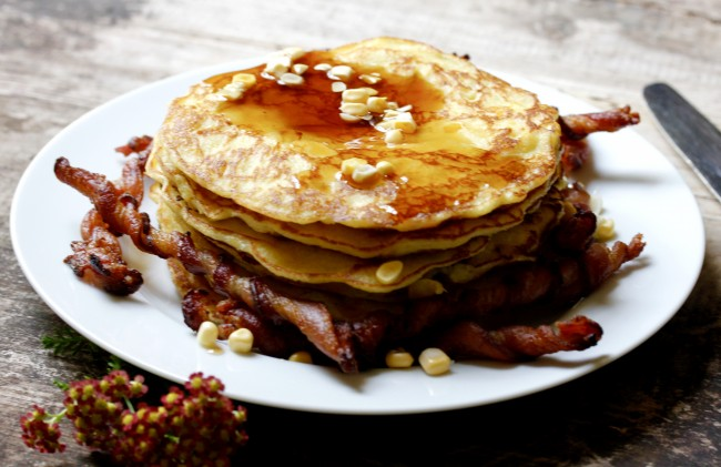 Fresh Corn Pancakes with Bacon Corkscrews