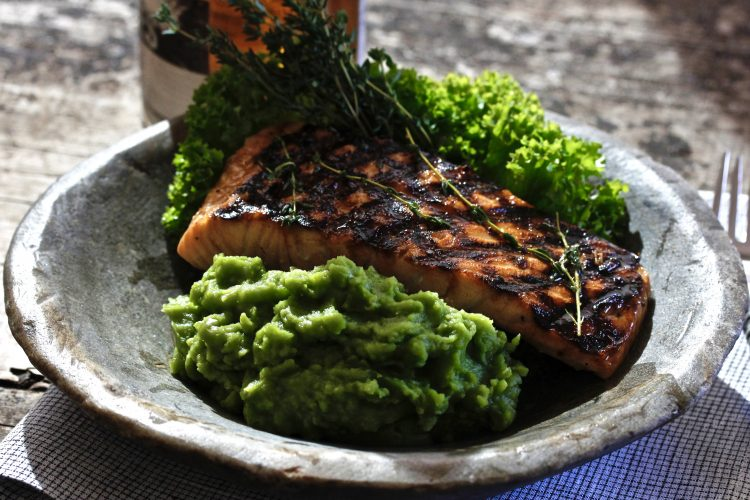 Roasted Salmon with Irish Whiskey Glaze and Mushy Peas