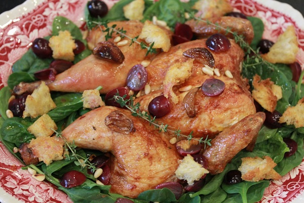 SPATCHCOCK CHICKEN WITH GRAPES AND PINE NUTS