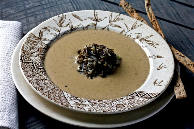 Wild Rice and Mushroom Soup with Caraway Rye Crackers