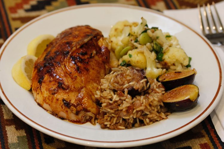 Roasted Chicken Stuffed with Figs and Rice