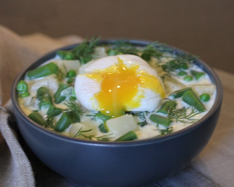Vegetable Dill Soup with Poached Egg