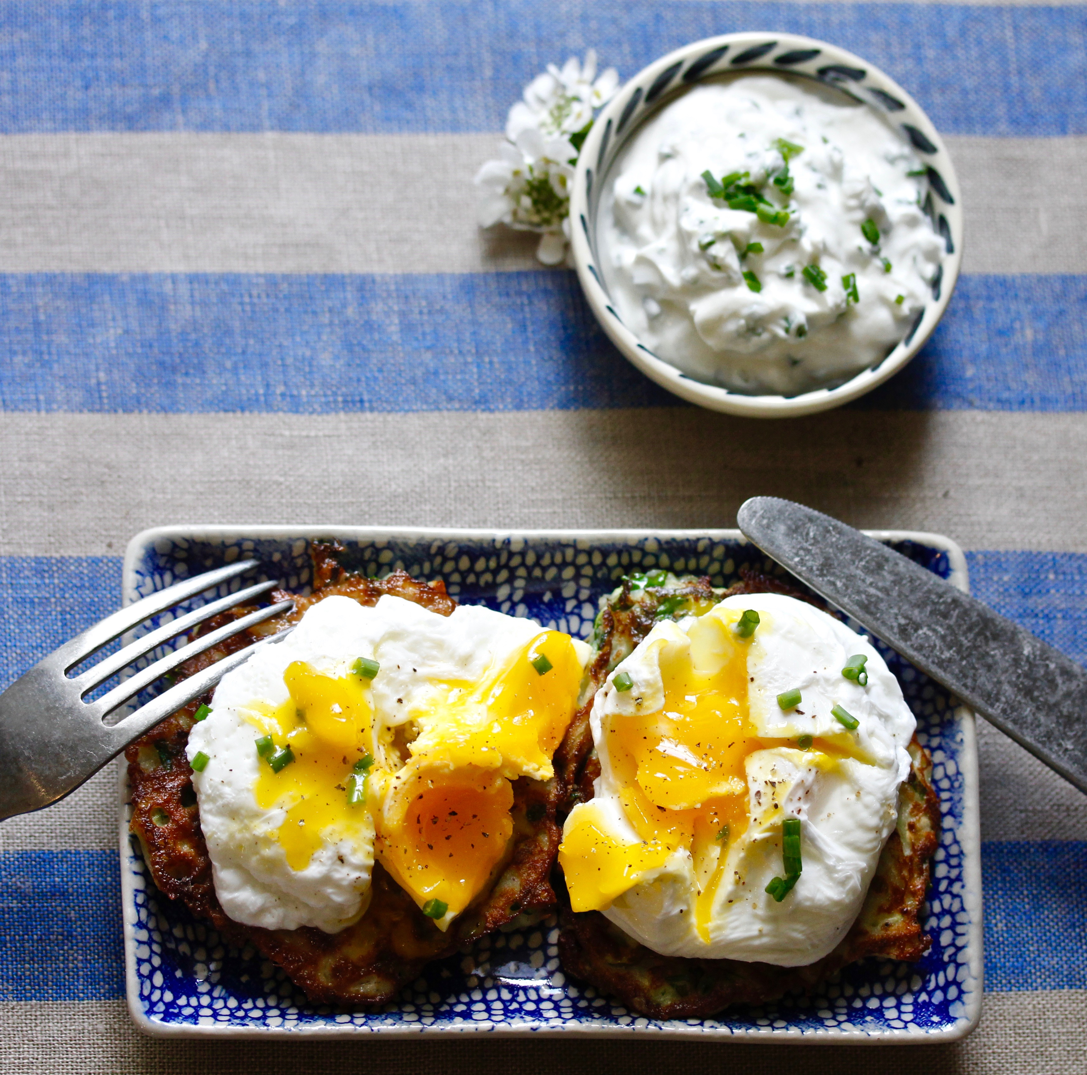 Kale Zucchini Latkes with Poached Eggs and Chive Yogurt