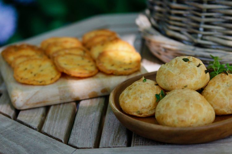 Cheddar Caraway Crisps and Thyme Gougeres