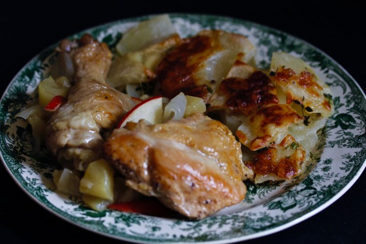 Chicken with Calvados and Apples
