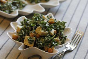 Chicken Kale Caesar with Chickpeas