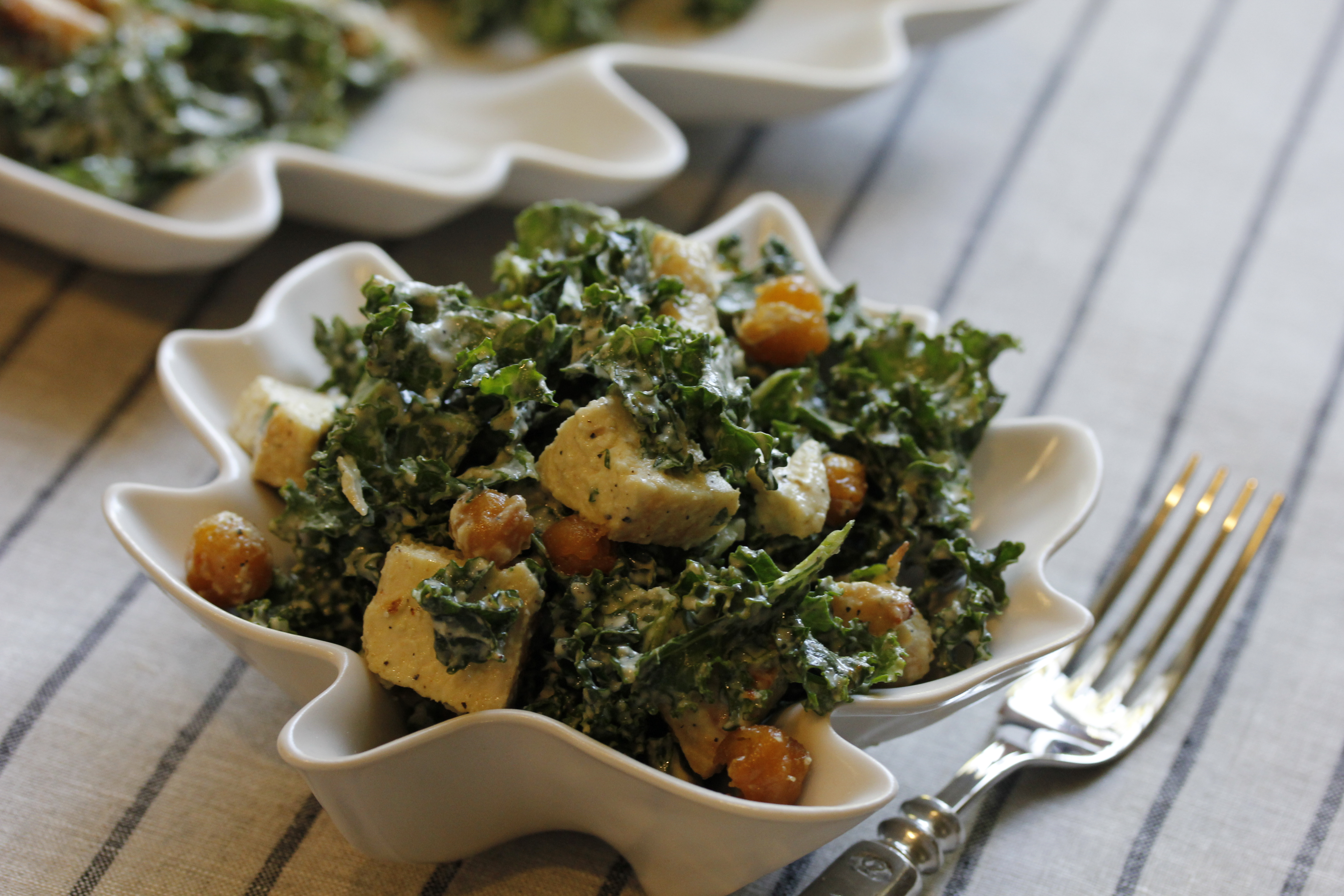 Chicken Kale Caesar with Chickpeas