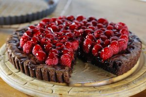 Raspberry Brownie Tart