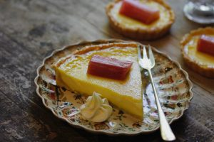 Ginger Custard Tart with Rhubarb