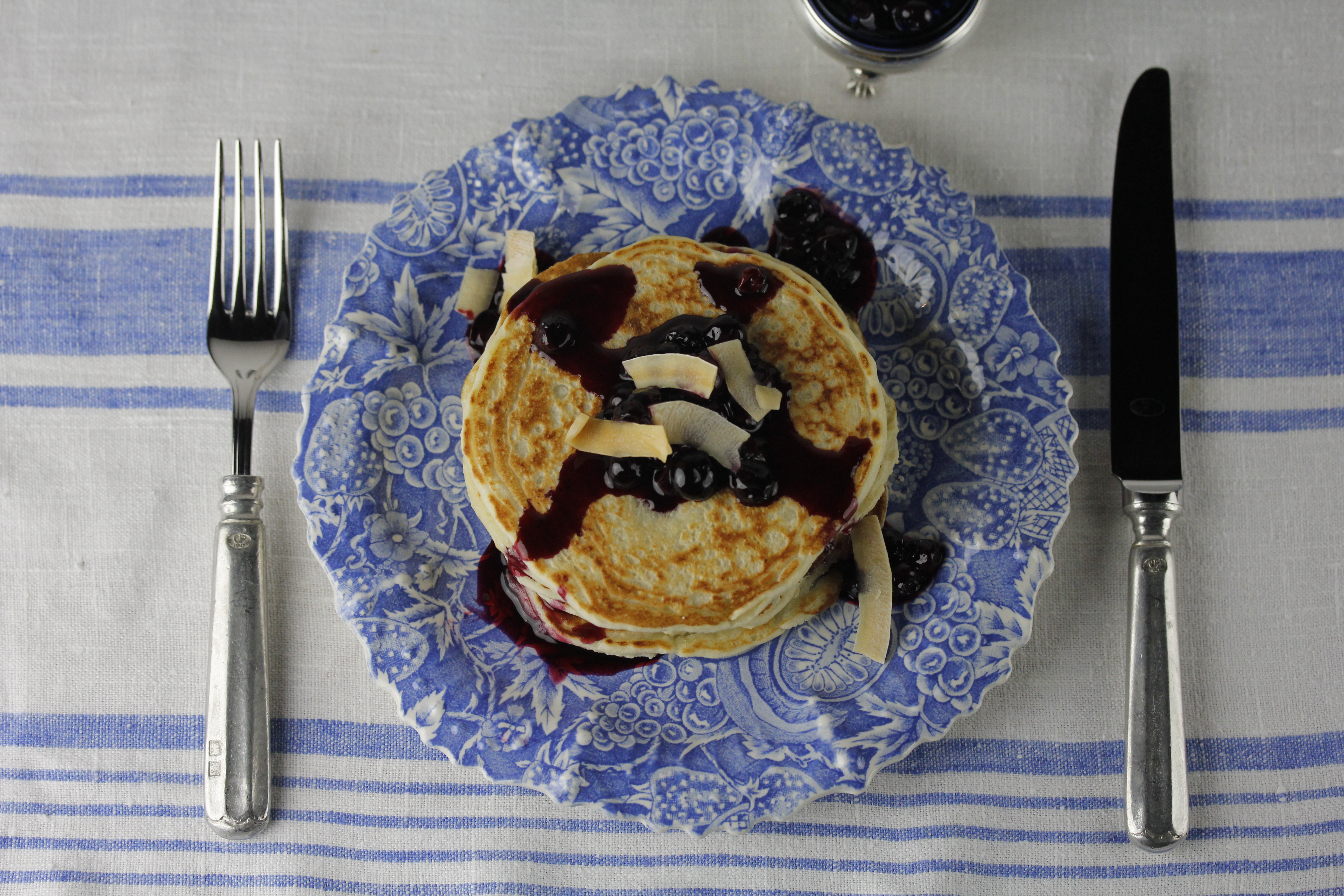 Coconut Pancakes with Blueberries
