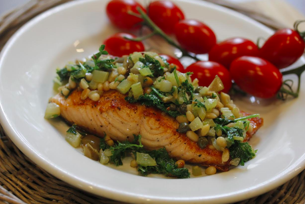 Pan-Fried Salmon with Pine Nuts