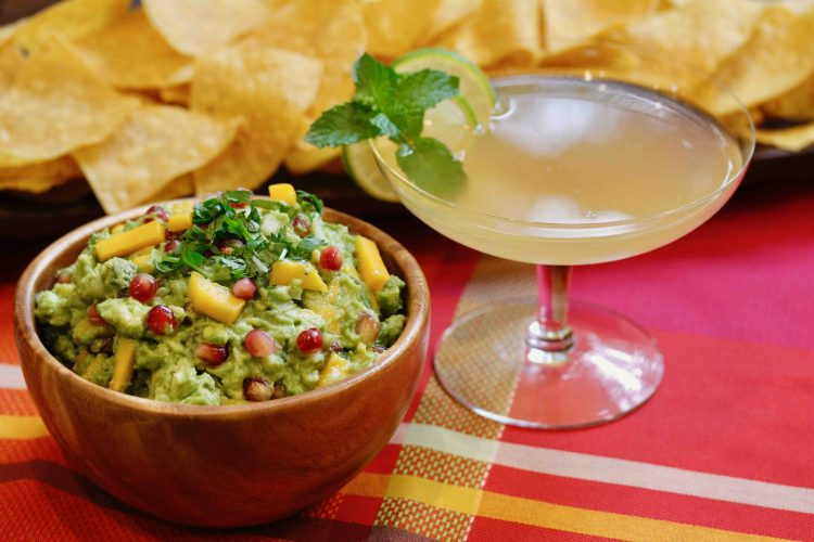 Mango Pomegranate Guacamole with Honey and Smoke Mezcal Cocktail