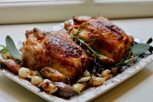 Game Hens with Sage and Rosemary